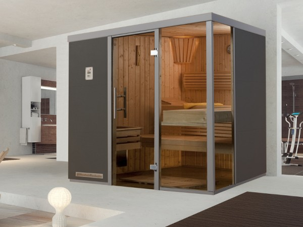 """Sauna Designsauna II """"Grigio R"""" graphit Ganzglastür + 2 Fensterelemente"""