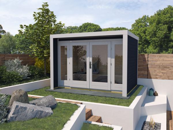 Gartenhaus Designhaus 263 Gr. 3 28 mm anthrazit lasiert