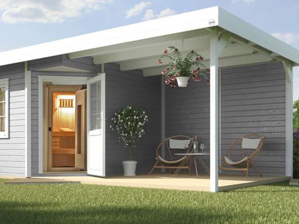 Saunahaus Salo 2 28 mm grau/weiß mit Lounge 300 cm, ohne Ofen