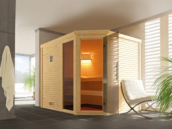 Sauna Massivholzsauna Cubilis ECK 3 mit Rundum-Sorglos-Paket (Lieferung, Aufbau, Licht)