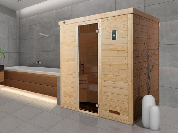 Sauna Massivholz-Elementsauna Kemi 3 GT graphit Ganzglastür