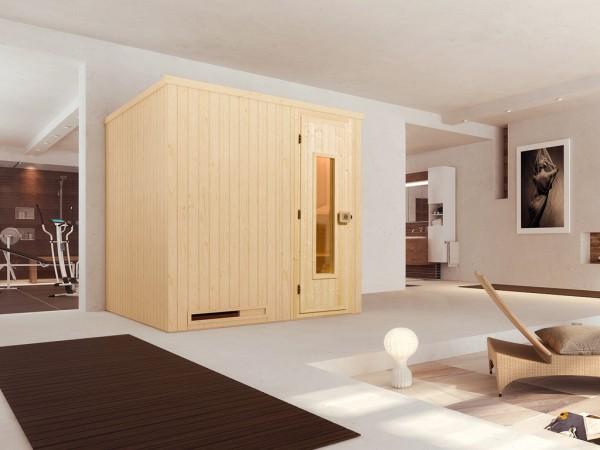 Sauna Elementsauna Halmstad 2 HT isolierte Holztür mit Glasausschnitt