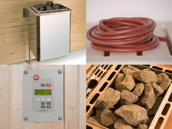 Saunaofen Set 3 mit 9,0 kW Ofen inkl. externer Steuerung