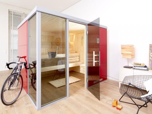 """Sauna Designsauna I """"Rosso L"""" graphit Ganzglastür + 2 Fensterelemente"""