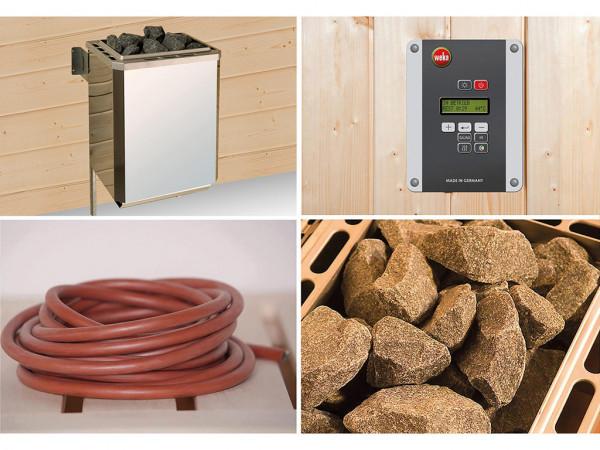 Technikpaket für Saunahäuser Serie 553, 9,0 kW Bio-Ofen mit Anschlusskabel und Steuergerät