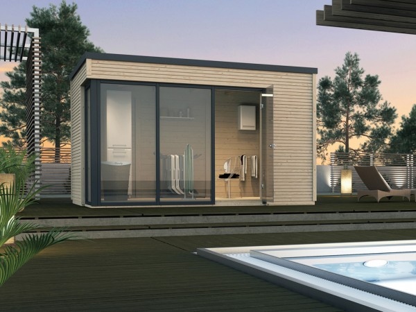 Gartenhaus Designhaus Cubilis Gr. 2 45 mm naturbelassen