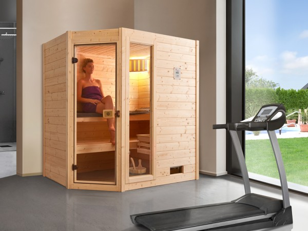 Sauna Massivholzsauna Valida Eck 1 GTF klare Ganzglastür und Fensterelement