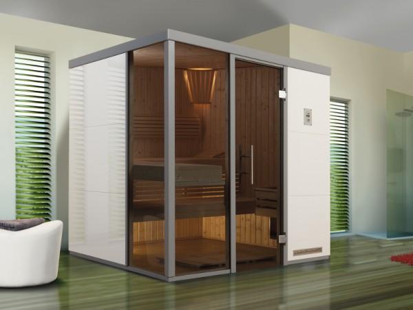 """Sauna Designsauna II """"Bianco L"""" graphit Ganzglastür + 2 Fensterelemente"""
