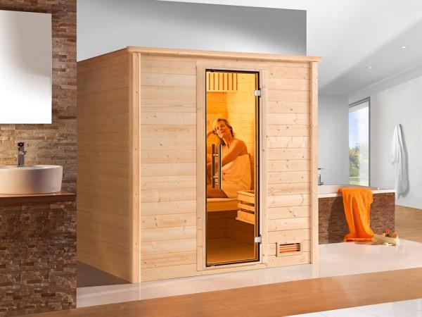 Sauna Massivholzsauna Bergen 2 GT graphit Ganzglastür