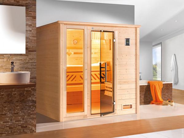 Sauna Massivholzsauna Bergen 1.8 GTF graphit Ganzglastür und Fensterelement