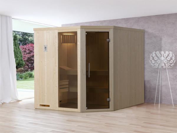 Sauna Elementsauna Varberg 3 GTF graphit Ganzglastür und Fensterelement