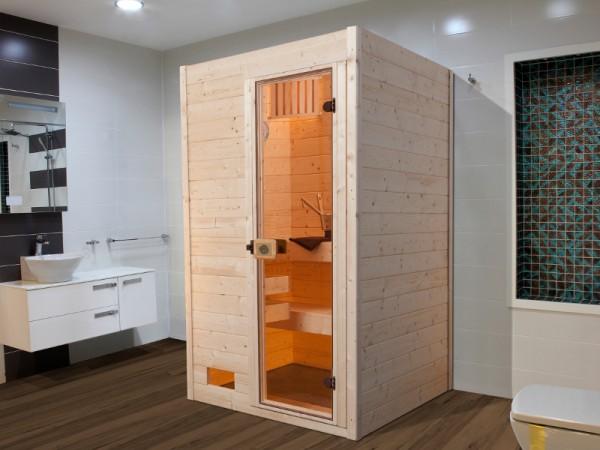 Sauna Massivholzsauna Valida 1 GT klare Ganzglastür