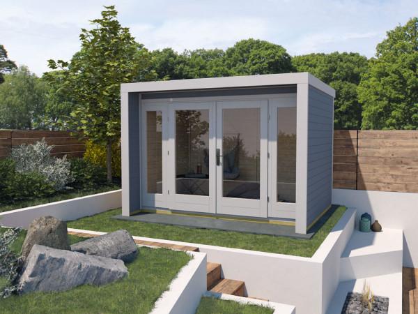 Gartenhaus Designhaus 263 Gr. 3 28 mm grau lasiert