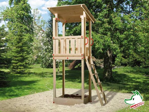 Spielturm Tabaluga Drachenturm Pultdach naturbelassen