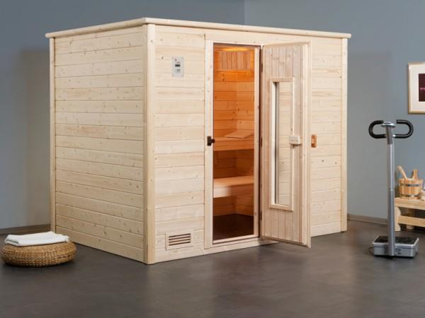 """Sauna Massivholzsauna """"Bergen 3 HT"""" isolierte Holztür mit Glasausschnitt"""