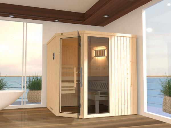 Sauna Systemsauna SPARSET 1 Varberg 3 mit graphit Glastür inkl. Saunaofen & Fenster
