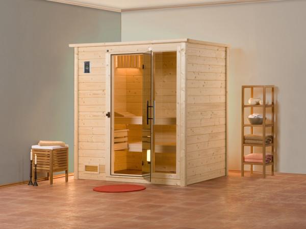 Sauna Massivholzsauna Bergen 1 GTF graphit Ganzglastür und Fensterelement