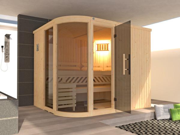 Sauna Elementsauna SPARSET Sara 2 inkl. 9,0 kW Ofen mit ext. Steuerung, + Anschlusskabel