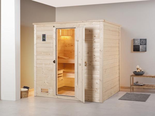 Sauna Massivholzsauna Bergen 1.8 HT isolierte Holztür mit Glasausschnitt