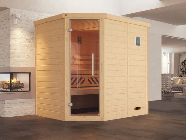 Sauna Massivholz-Elementsauna Kemi Eck inkl. Edelstahlset + Komfortpaket
