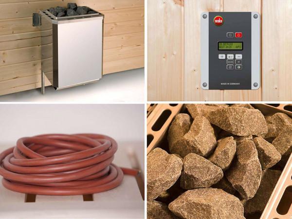 WE-Sauna Zub. Ofenset 3 mit 7,5 kW Ofen, 3 PACK